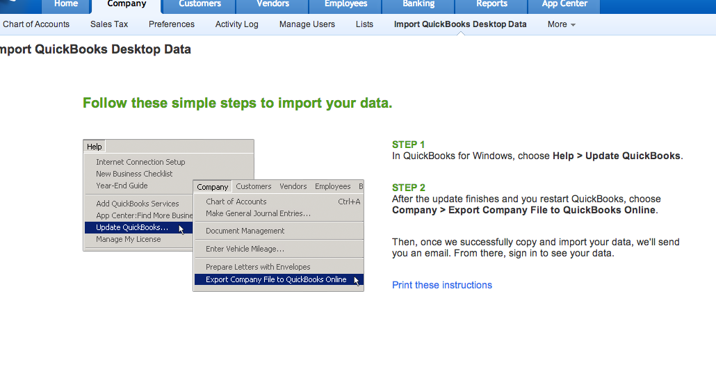 Importing Quickbooks 2011 for Mac to Quickbooks Online  | Steep