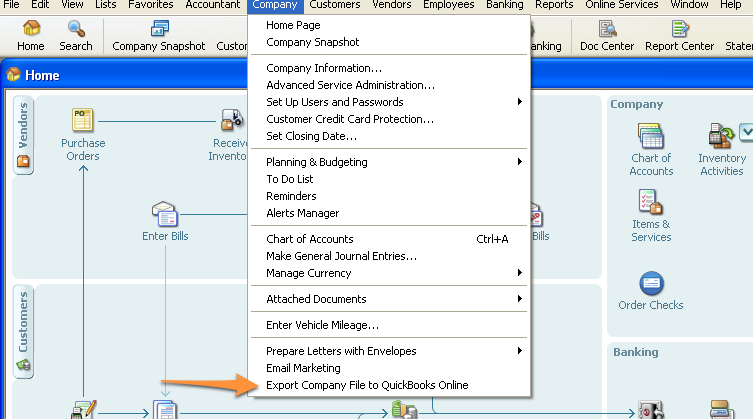Company Menu -> Export Company File to Quickbooks Online